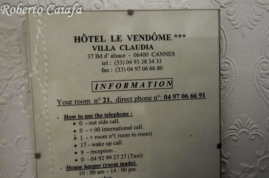 Hotel Le Vendome Villa Claudia: Aviso do Quarto 21