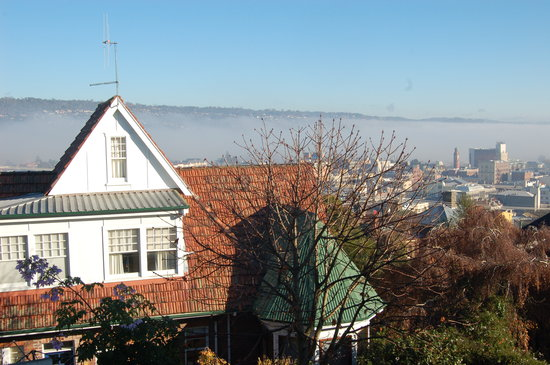 Highbury Apartments: View from our balcony of the early morning fog rolling down the Tamar
