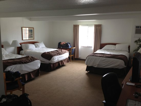Ramada Ankeny: Three Queen Beds in the room, but stained carpets in the middle and near window areas