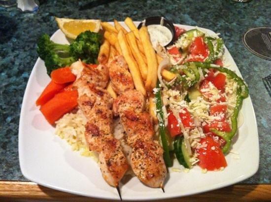 Sorrel's Restaurant & Bar: Chicken Souvlaki: starts with soup, 2 chicken skewers, Greek salad, veggies, rice, and choice of