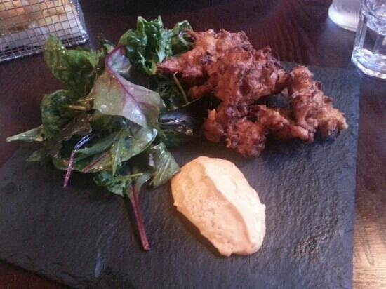 The Wheelwright Inn: The sweet potato and feta fritters with spicy red pepper aioli