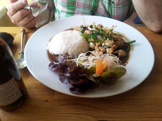 Nadon Thai: spicy thai basil chicken lunch today 9th july 2013. looks good tastes great!!