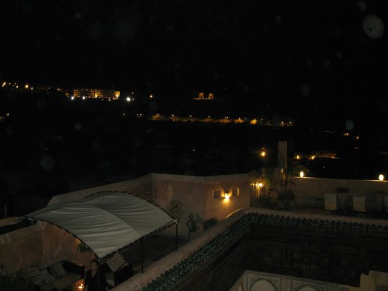 Riad Laaroussa Hotel and Spa: Night time view of Fes from Laaroussa's huge and lovelyterrace.
