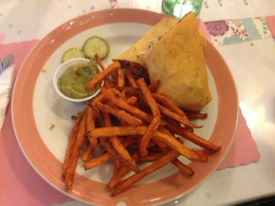 Dolgeville, NY: southwest chicken wrap sweet potatoe fries