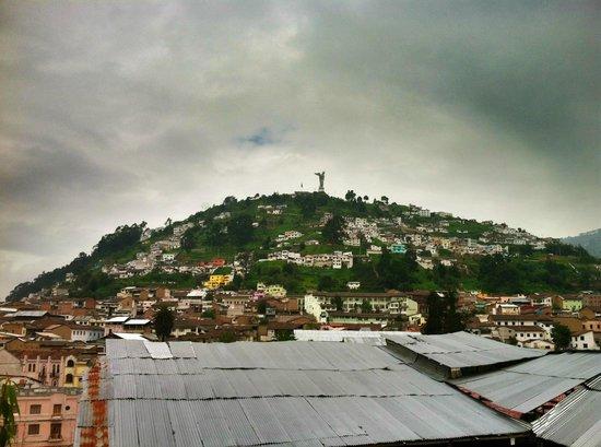 La Posada Colonial: View of El Panecillo hill from rooftop terrace.