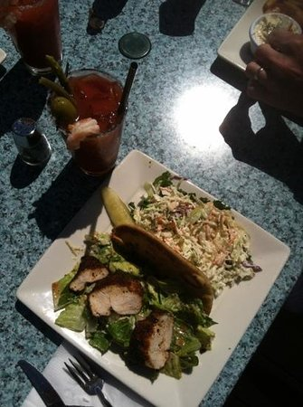 Doc's Marina Grill: blackened chicken Cesar with cole slaw & Bloody Mary