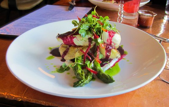 Justice Snow's Restaurant and Bar: Halibut over English pea perogis with red beet-basil glacage