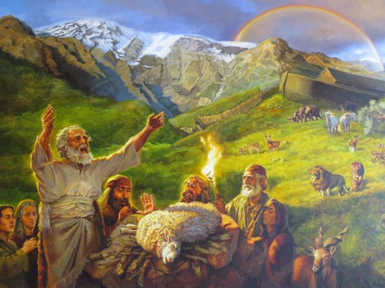 Noah's Ark: Drawing of Noah thanksgiving offering's to GODafter the flood