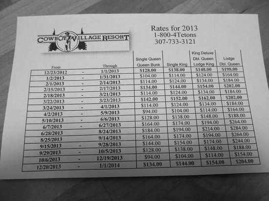 Cowboy Village Resort: The 2013 rate sheet.