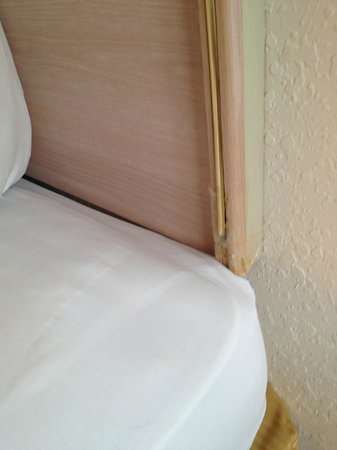 Quality Inn Sarasota/Siesta Key: Bed repaired with scotch tape