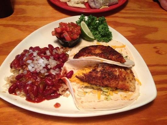 South Beach Grill: Blackened Tilapia fish tacos with red beans and rice