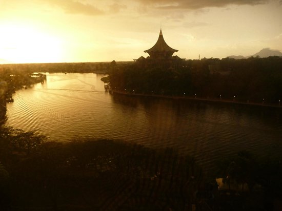 Hilton Kuching: view from room at sunset