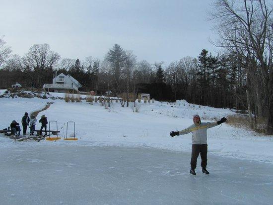 Canterbury Farm: ice skating on the pond