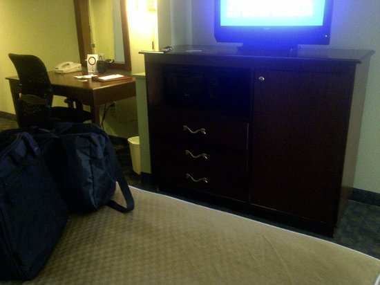 Comfort Suites: TV Cabinet with Microwave & Refrigerator, Desk