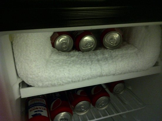 Comfort Suites: Block of ice in refrigerator