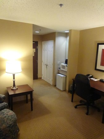 Wingate by Wyndham Dallas/Las Colinas : Another angle of entry way. Fridge and microwave.