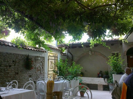 Trattoria Due Cavallini: Wisteria covered pergola