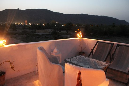 Upper terrace at Mosaic's Guesthouse, Amer, Rajastan