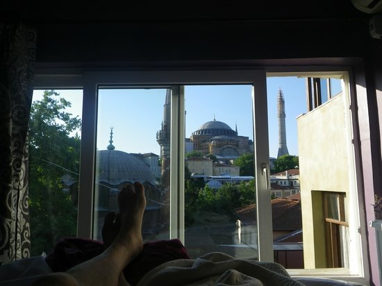 Modern Sultan Hotel: View of Hagia Sophia from our bed.