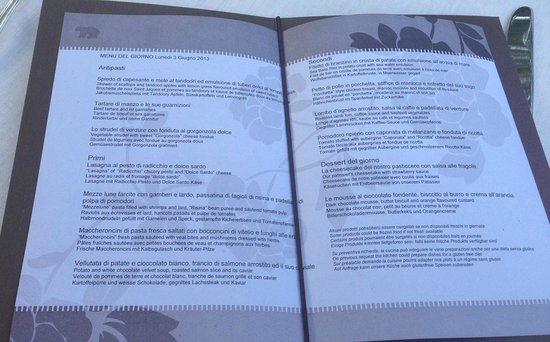 Hotel Capo D'Orso Thalasso & Spa: A La Carte Half Board Menu