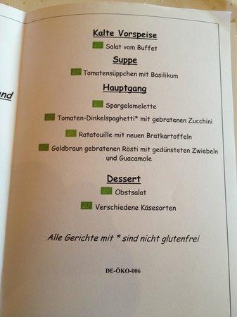 Bio & Wellnesshotel Alpenblick : Menü am Mittag
