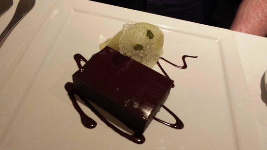 Dax Restaurant : Chocolate brownie and pistachio ice cream dessert