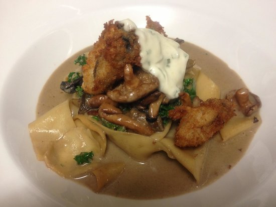 Camille's Fine Westcoast Dining : Smoked pappardelle pasta with mushrooms & ousters