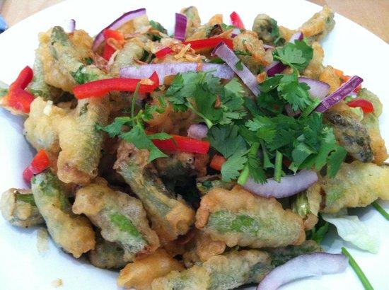 The Green Elephant: Tempura Asparagus Salad w/coconut milk-chili dressing