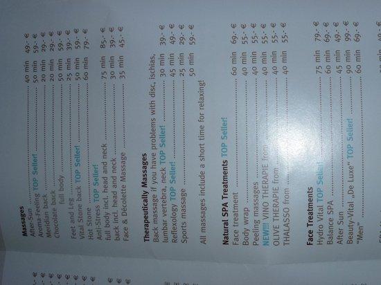 spa treatment list
