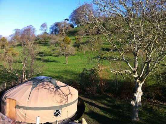 St Anne's B&B: View of our Yurt, Garden & Chalice Hill
