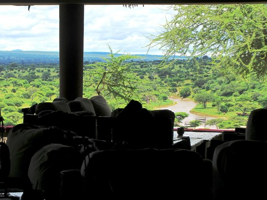 Tarangire Safari Lodge: Vast view out over river, over coffee after lunch