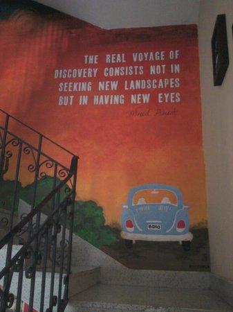 Boho Hostel : Painted wall!!:)