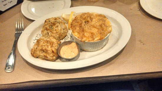Brother Shuckers: House specialty crab cakes with Mac n' cheese