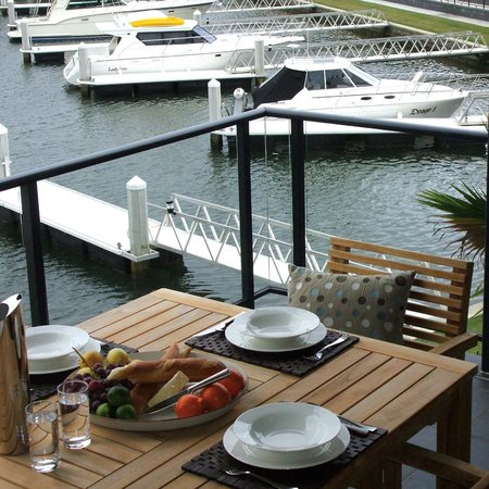 Sovereign Pier on the waterways: Picturesque dining from Patio upstairs Villa