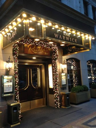 Warwick New York: 54th Street Entrance with Christmas decorations at night C