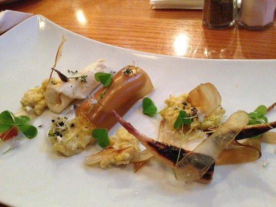 The Landings : Halibut Special- Lemon halibut ceviche, buttery creamed corn, and fingerling crisps