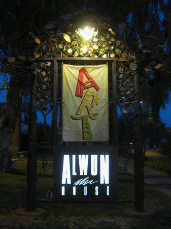 Alwun House: Alwun sign at night-1st Friday