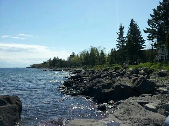 Larsmont Cottages on Lake Superior: the view from the shore, steps away from our patio