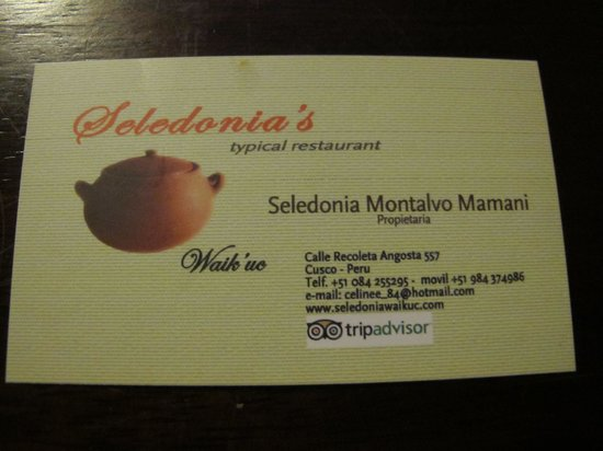 Seledonia's Mesa: Her business card