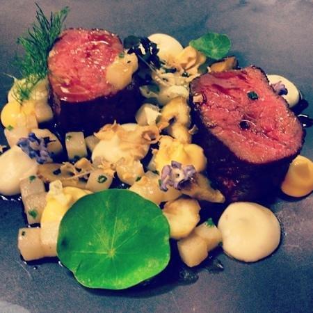 Balthazar Bar Restaurant : Hay poached beef, baby leek, artichoke, egg yolk purée, chestnut