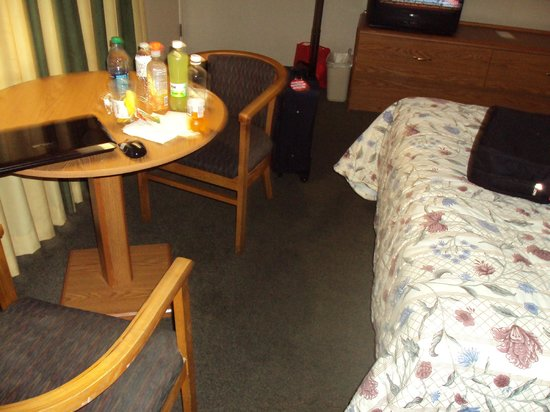 The Vagabond Inn : Room with table, bed, and Tv small but adequate