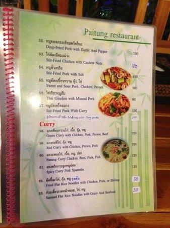 Paitung Restaurant: more menu pics