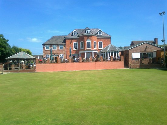 The Corbet Arms: Rear view, bowling green and patio area