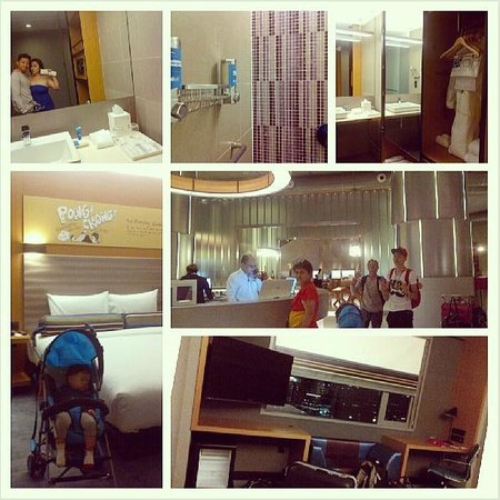 Aloft Kuala Lumpur Sentral: A collage of us at check in at in the room