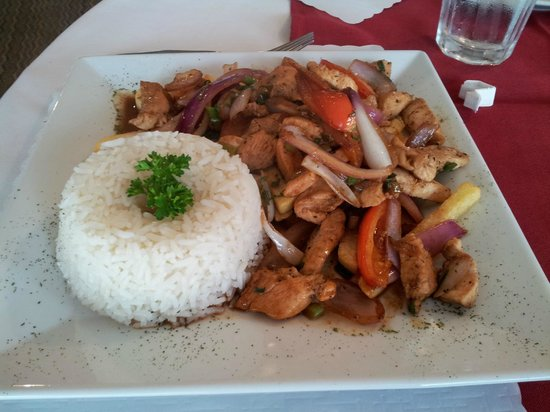 Malulo's International Seafood: Pollo Saltado (Sauteed chicken)
