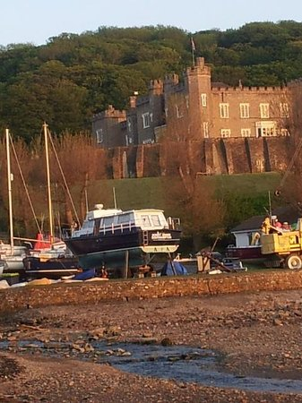 Watermouth Lodges: View from Watermouth Cove back to castle and lodges in trees.