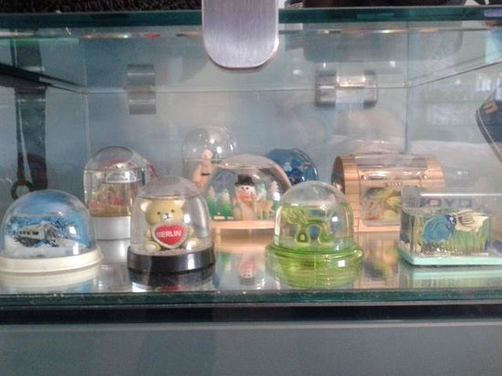 Blanch House : Snowglobes in side table