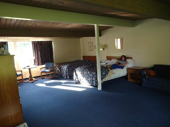 Town & Country Resort Motor Inn: the huge bedroom with roof support pole!