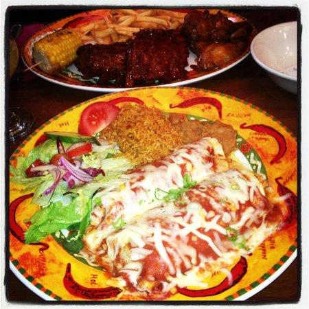 Los Amigos Mexican Cantina: Chicken Enchiladas & BBQ Wings & Ribs