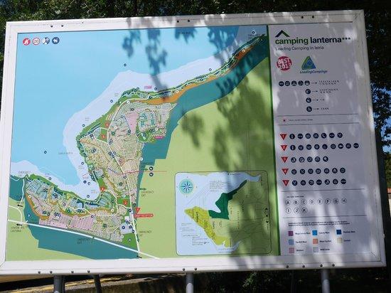 Camping Resort Lanterna : Plan  am Anfang des Platzes